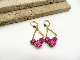 Retro Hot Pink Baguette Rhinestone Bead Gold Dangle Earrings PP37 - $19.99