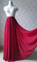 Dark Red Silk Long Chiffon Skirt Wedding Separates Red Bridesmaid Chiffon Skirts