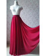 Dark Red Silk Long Chiffon Skirt Wedding Separates Red Bridesmaid Chiffo... - $56.99