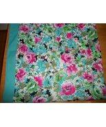 """VINTAGE SCARF PINK & BLUE  ROSES   30"""" Square ... - $9.99"""