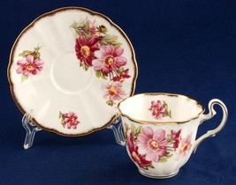 Adderley Floral Cup & Saucer H1089 Fine Bone China England Cosmos Flowers - $7.50