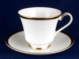 Minton Saturn Black Footed Cup & Saucer Like New China - $19.99