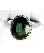 Faceted Forrest Green Oval Quartz Sterling Silv... - $93.12