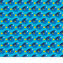 "Finding Dory School of Dory Blue Disney 100% Fabric Remnant 34"" - $8.81"