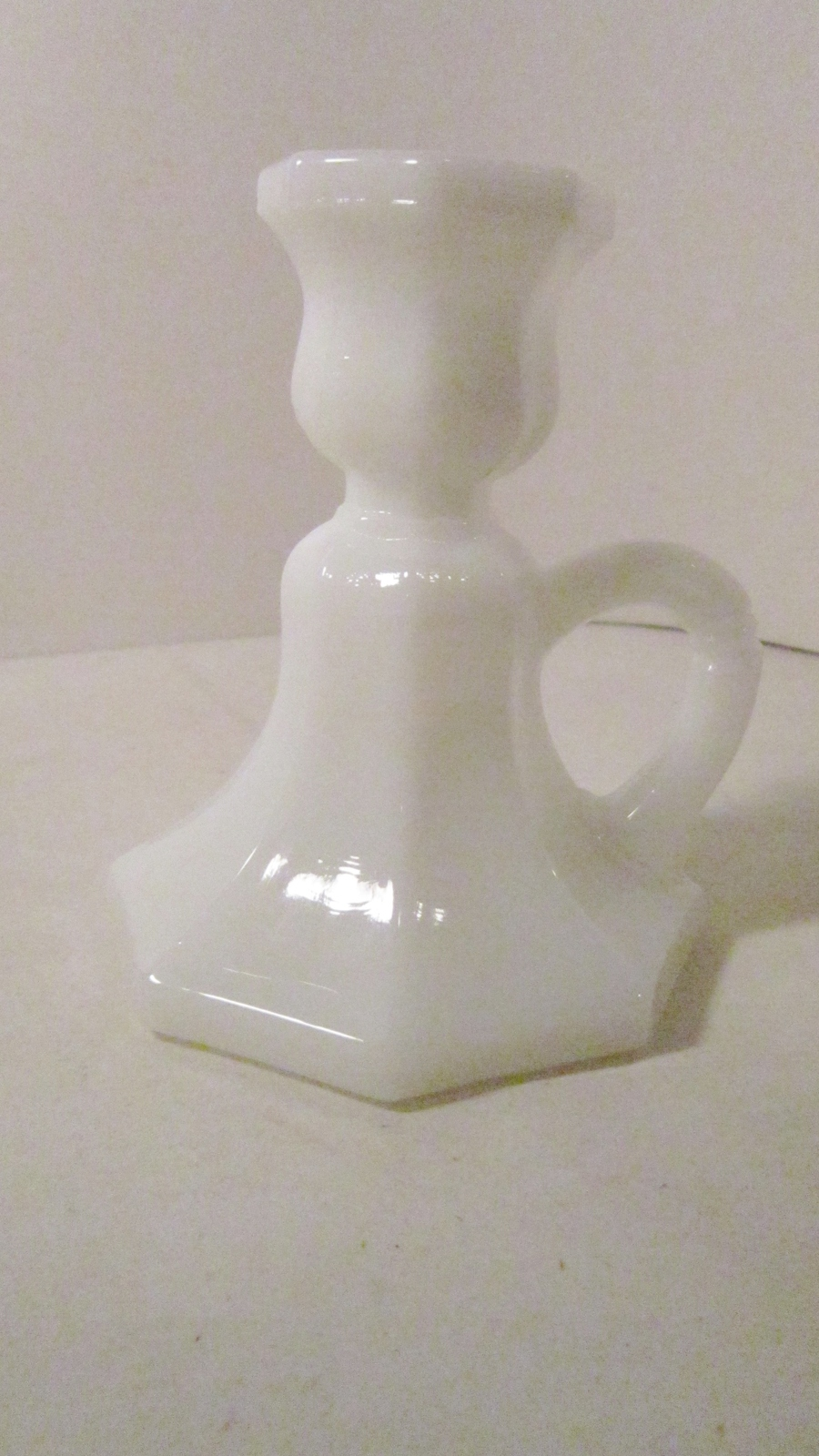 Chamber Candle Holder with handle, White Glass, Octagonal Candle Stick