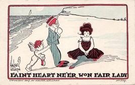 Antique Walter Wellman Postcard Comic Romance Shy Man on Beach - $8.99