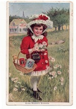 Antique Heinz Trade Card  Going On Mama's Errands Girl with Basket - $4.99