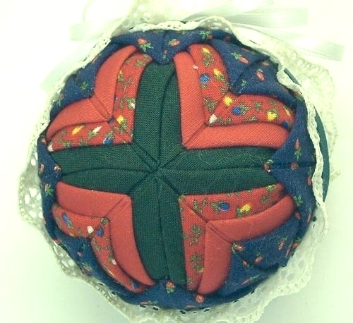 Dark Blue, Deep Red & Dark Green Quilted Christmas Tree Ornament Handcrafted