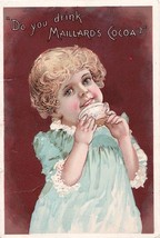 Antique Trade Card Maillard's Cocoa Good Condition Child Drinking Cocoa - $10.99