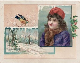 Antique Trade Card Lion Coffee Winter Scene with Girl - $10.99