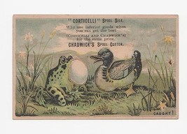 "Antique Advertising Card Frog & Duck  ""Caught"" - $14.99"