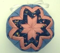 Light Blue, Medium Pink  & Dark Blue Print Quilted Christmas Ornament - $3.99