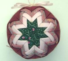 Burgundy, Dk Pink Print, Lt  Pink, Dk Green Print Quilted Christmas Orna... - $3.99