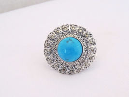 Vintage Sterling Silver Turquoise & Marcasite Filigree Ring Size 8 - $75.00