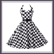 Retro 50's Rockabilly Swing Back and White Checkered Halter Prom Dress