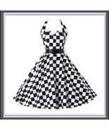 Retro 50's Rockabilly Swing Back and White Checkered Halter Prom Dress - $97.95