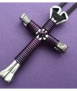 Buy 1 get 1 free Dark Purple Disciples Cross handcrafted necklace,brand new - $8.49