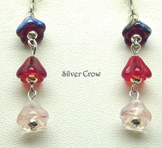 Deep Red, Red & Pink Floral Drops Earrings - $9.99