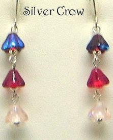 Deep Red, Red & Pink Floral Drops Earrings