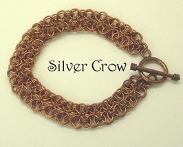 Chainmail Bracelet Copper  Doubled Helm Chain  - $28.99
