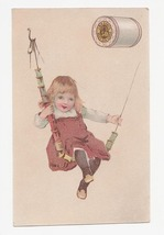 Antique J & P Coats Advertising Card Girl in Swing Copyrighted 1888 - $12.99