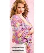 W917 Crochet PATTERN ONLY Spring Bouquet Shawl Wrap Pattern - $8.45