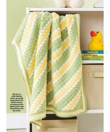 W925 Crochet PATTERN ONLY Cluster Citrus Stripes Baby Blanket Pattern - $7.50