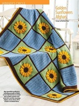 W926 Crochet PATTERN ONLY Golden Sunflowers Afghan Pattern - $9.50