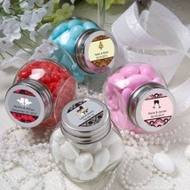 50 Personalized Glass Favor Candy Jars Wedding Party Event Shower Reception - $70.27
