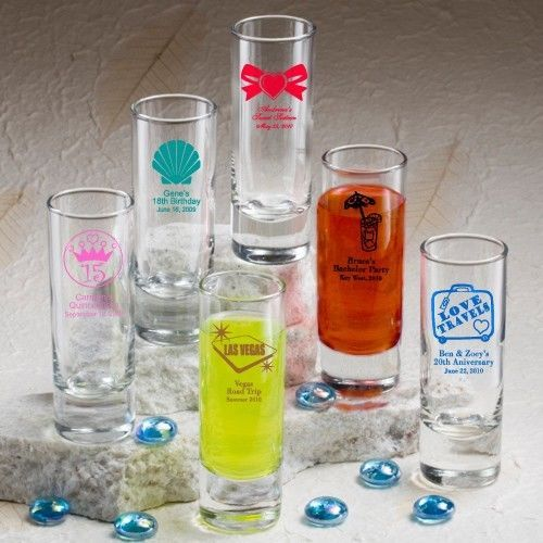 100 Personalized 2 oz Ounce Shooters Shot Glasses Wedding Party Shooter Favor