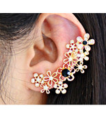 Flower imitation gemstone new 2014 summer earrings jacket big gold plating acrylic fashion for women free thumbtall