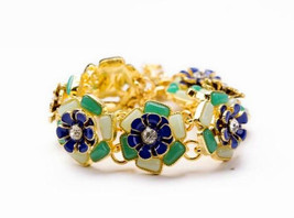 gold chain green blue flower Acrylic bracelets & bangles women - $9.49
