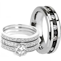 Diamond Trio Set 14K White Gold Over Ladies Engagement Rings Men's Weddi... - $110.00