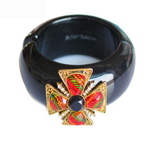 Round black Enamel Cute cuff Charm Bracelets Wo... - $18.41
