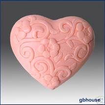 Silicone soap mold - Heart with Winding Flowers - $26.00