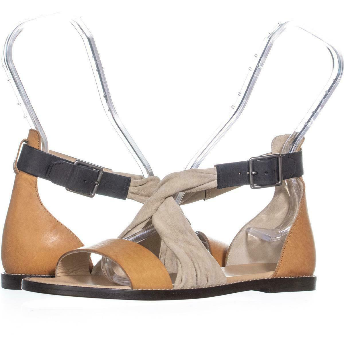 Primary image for Belstaff Tallon Ankle Strap Flat Sandals 520, Cream/Tan/Black, 7 US / 37 EU