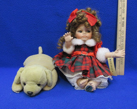 Seymour Mann Jessica Porcelain Doll with Dog Music Box Red Green Plaid Dress - $19.75