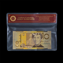 WR Australia 10 Dollar Paper Currency Colored Gold Foil Banknote New - $5.00