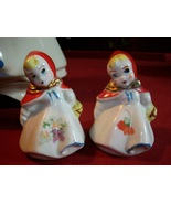 Vintage Little Red Riding Hood Salt and Pepper Shakers 3 1/4 inch - $29.00