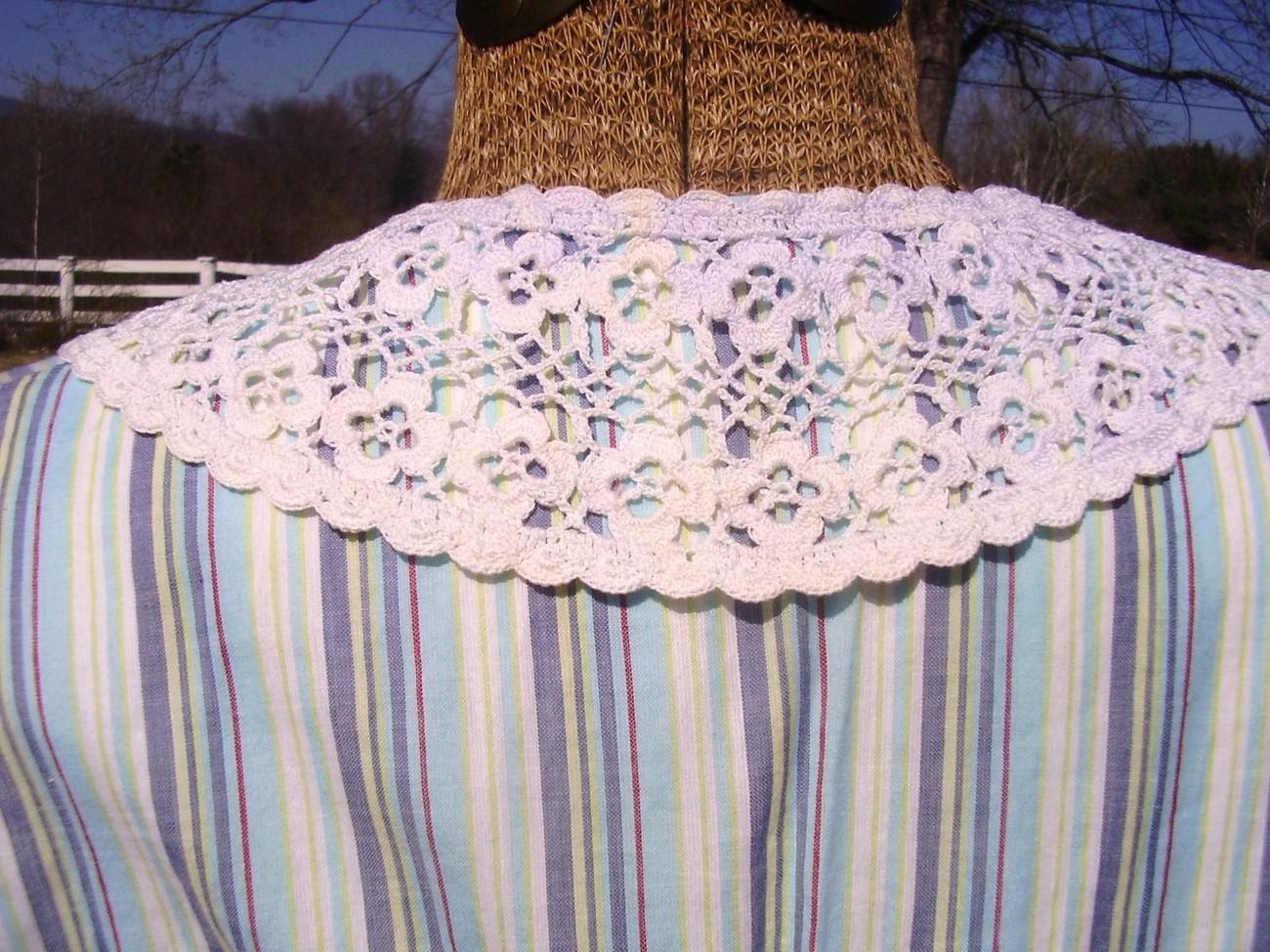 Victorian Edwardian Dress Collar Crochet HandMade Fancy USA  Vintage