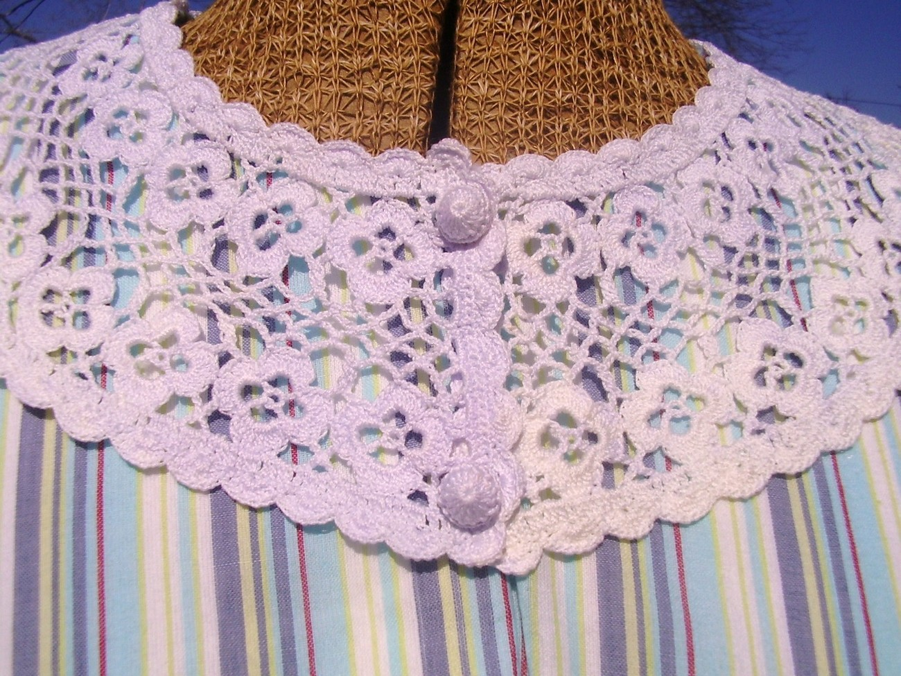 Victorian Edwardian Dress Collar Crochet HandMade Fancy USA  Vintage