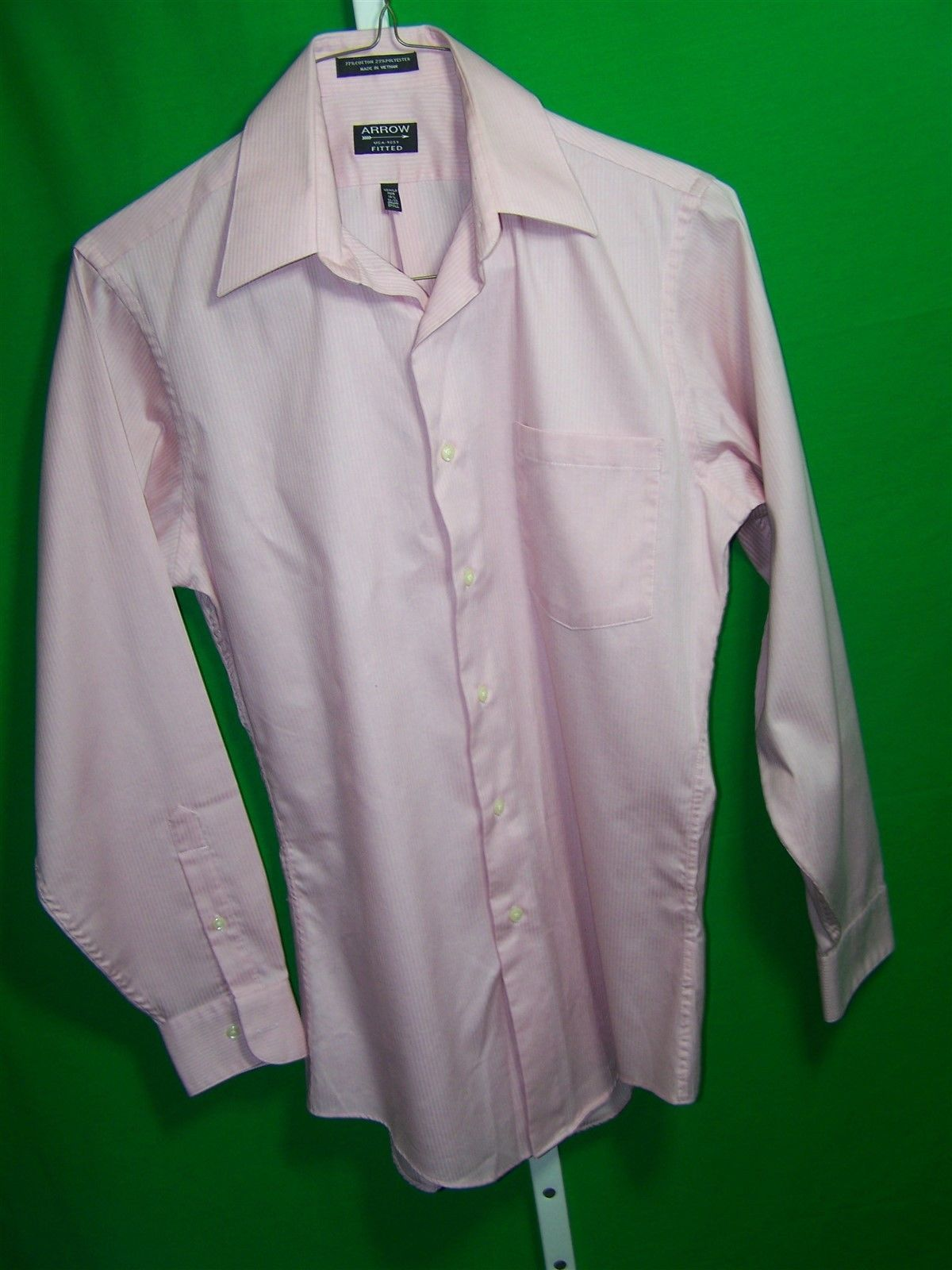 Arrow small mens fitted wrinkle free button front long for Best wrinkle free shirts