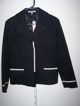 Ellen Tracy size 16 black lined jacket shoulder pads faux front pockets NWT - $134.10