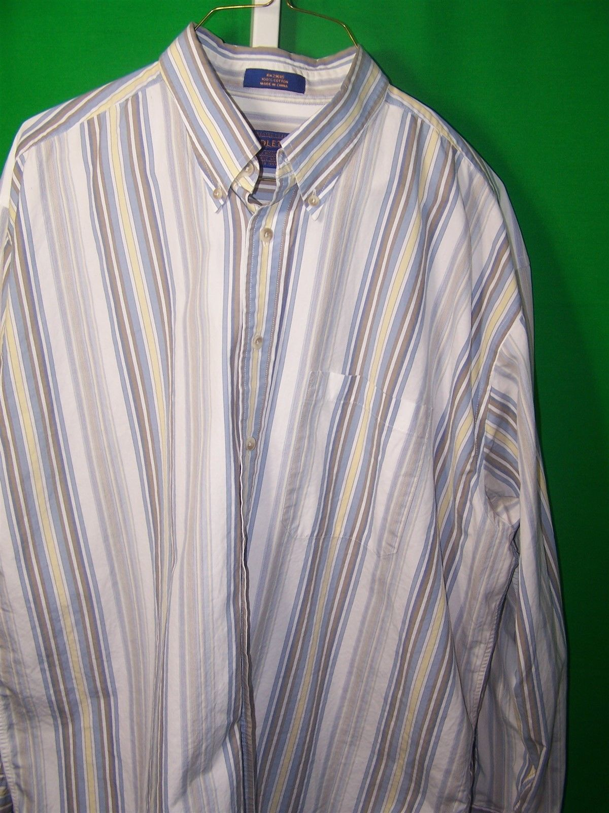 Pendleton m xl ls striped cotton shirt button down collar for Three button collar shirts