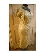 Vintage dress 50s 60s wiggle style gold metalli... - $85.00