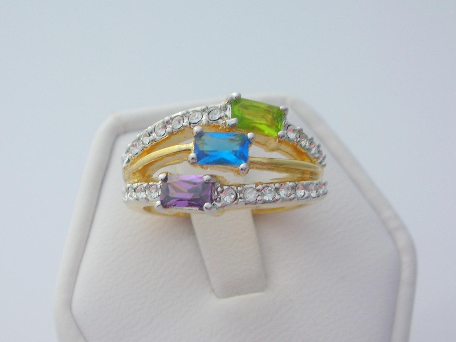 Tricolor cubic zirconia ladies fashion ring  2