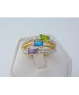 Tricolor cubic zirconia ladies fashion ring  2  thumbtall