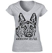 German Shepherd 1 German Style B   Cotton Graphic Grey T Shirt Small Size - $22.49