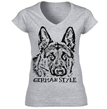 German Shepherd 1 German Style B   Cotton Graphic Grey T Shirt Large Size - $22.49