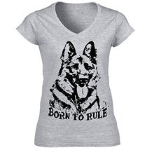 German Shepherd 2 Born To Rule P   Cotton Graphic Grey T Shirt Medium Size - $22.49